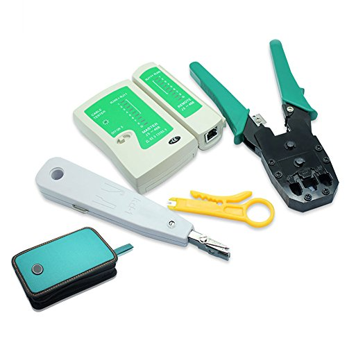 Nuzamas Ethernet/LAN RJ11RJ45testeur de câble CAT5réseau Analyseur de fils à sertir Pince à sertir Stripper Outil Kit Punch-down Lot d'outils de réseau de 5