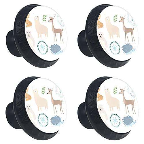 Ink Animals-01 - Vetro di cristallo per cassettiera, credenze, armadietti da cucina, armadio, bagno, scrivania da 4 pezzi