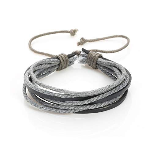 AKKi jewelry Armband für Herren Man Leder-Armband Armkette Geflochten Seil Armreifen Größe Verstellbar aus echt-Leder Partner-Schmuck Grau 2
