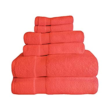 Blue Nile Mills Zero Twist Cotton 6-Piece Bath Towel Set, Coral