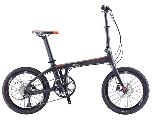 SAVADECK Z1 Klappfahrrad 20 Zoll Kohlefaser Klapprad Faltrad Klappfahrräder Mini Compact City Fahrrad mit Shimano 3000 9 Gang (Schwarz Rot)