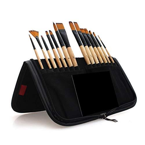 SSXPNJALQ Pinceles de Pintura de 14 unids Cepillo Acuarela acrílico con Caja de lápices Bolsa de Almacenamiento para Artistas Escolares Pintura Dibujo (Color : Black)