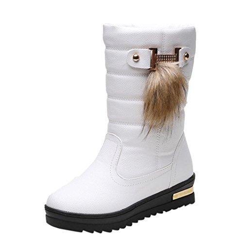 Stiefel damen Kolylong® Frauen Elegant Stiefel PU Leder Herbst Winter Warme Schneestiefel Mädchen (40, Weiß)
