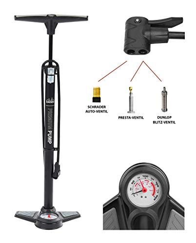 Dansi Standluftpumpe schwarz mit Adaptern I Praktische Fahrrad-Luftpumpe passend für alle Ventile SV AV DV I Reifen-Pumpe mit großem Manometer I bike tire pump black I air pump for car