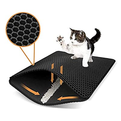 Double Waterproof Cat Litter Mat Trapping Pad Honeycomb Design Foldable Anti-slip Cat Litter Box Mat Scatter Control Urine Proof Trapper Mat Washable EVA Clean Sanitary Mat Pet Supplies,30 *30cm