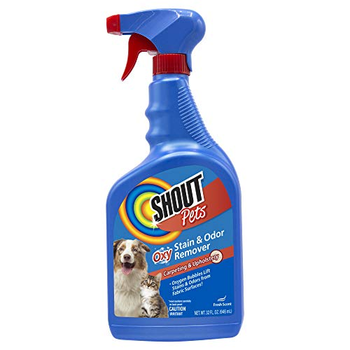 Shout for Pets Turbo Oxy Stain and Odor Remover Spray   Shout Carpet Cleaner Spray and Odor Eliminator in Fresh Scent, Pet Odor Control Spray and Stain Removal, 32 Ounces