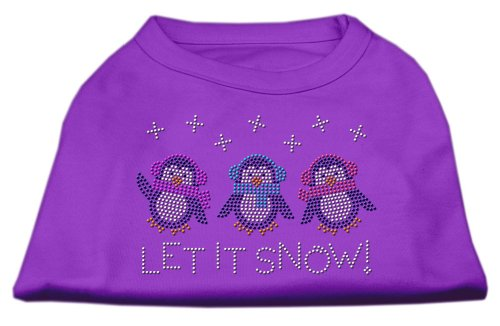 Mirage Pet Products Let It Snow Penguins Rhinestone Shirt Purple XXL (18)
