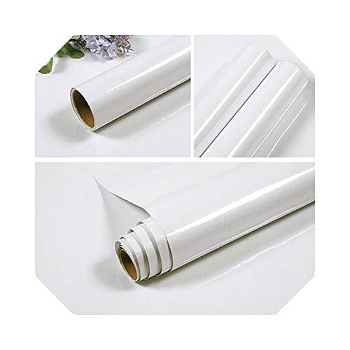 Wohnzimmer Dekor | Moderne DIY selbstklebende Wandaufkleber Küchenschranktür Kleiderschrank Möbel PVC Kontaktpapier einfarbig Home Decor Tapete-Weiß-40cm X 3m