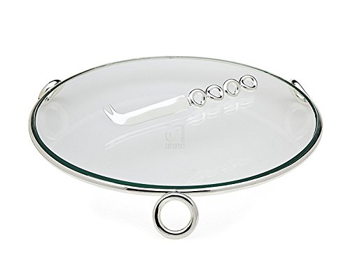 Godinger Ellipse Glass Cheese Tray with a Knife