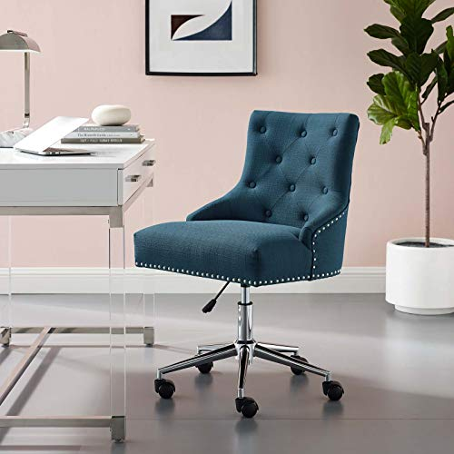 Modway Regent Tufted Button Upholstered Fabric Swivel Office Chair with Nailhead Trim in Azure