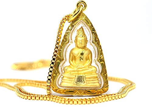 Bangkok Bazaar Detailed Famous Thai Sothon Buddha Amulet Pendant 18k Gold Plated with 22' Chain