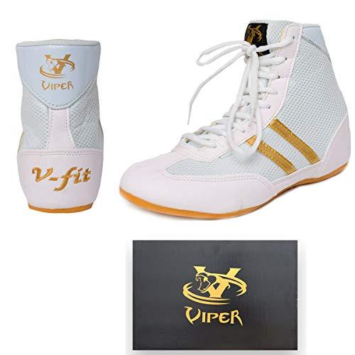 Viper Mens Kids Boys Children Girls Boxing Boots Boys Boxing Footwear Boxing Shoes (2 UK, White)