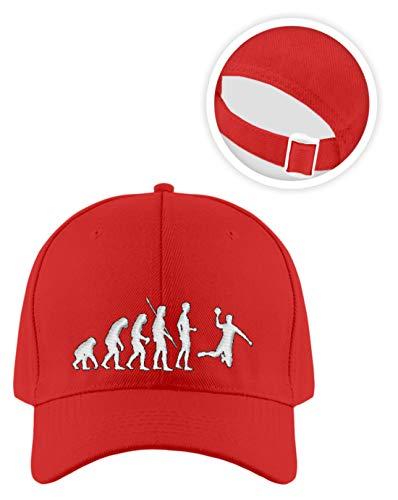 shirt-o-magic Baseball-Cap Handball: Evolution Handballspieler - Kappe -Einheitsgröße-Feuerrot