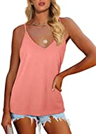 Fashion Design:Adjustable strap provides maximum fit,casual v neck decorates your neck and beautiful collarbone,unique back design,loose fit Match:Perfect for shorts,jeans,skirts or leggings in spring or summer.Looks Fashion When Front Tucked or Matc...