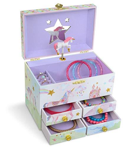 Jewelkeeper - Caja Musical de Almacenamiento de Joyas Grande, Fiesta de Unicornio Brillo con Cuatro cajones extraíbles - Melodía The Unicorn