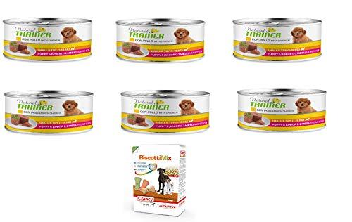 Natural Trainer Umido Adult Chicken Pollo Puppy CUCCIOLO150GR X 6 Omaggio CRANCY Biscotti Giuntini