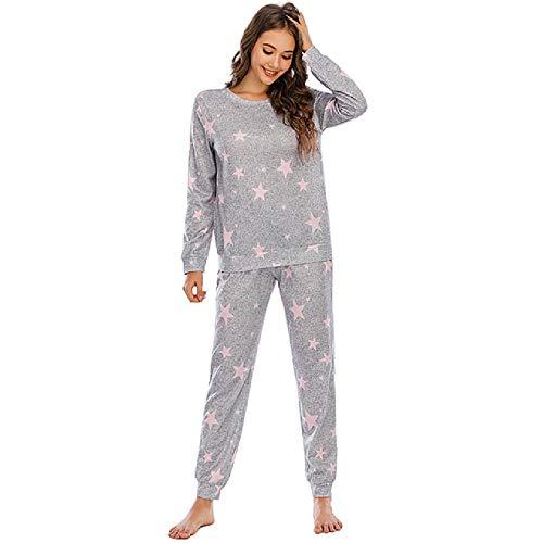 Pijamas cálidos de Manga Larga para Mujer Ropa de Dormir de 2 Piezas de Invierno