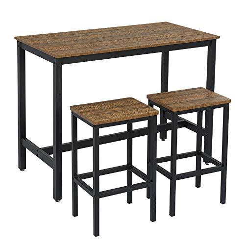 Meerveil Bartisch-Set, Bar Tisch und Stühle aus Eisenholz, Küchentisch und Stühle, Stehtisch und Barhocker,120 x 60 x 90 cm, Restaurant, Stehtisch aus dunklem Holz