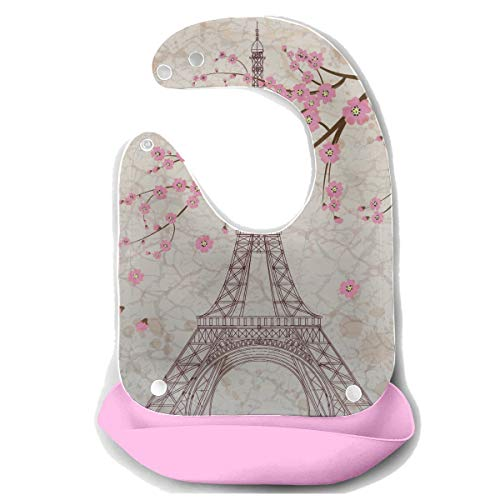 Bavoirs Aliments France France Paris Tour Eiffel Fleur Sakura Détachable Tablier de Souris en Silicone Serviette Souris Nourrissage Dribble Bavoir Bavoir Infant Bébé Bavoir Garçon