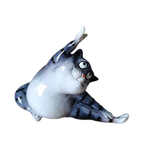 Little Boy Gato De La Suerte Resina, Estatua De Gato Decoración De Jardín, Figura Decorativa De Gato De Yoga para Oficina, Hogar, Salón, Dormitorio O como Decoración De Yoga,Side Pull