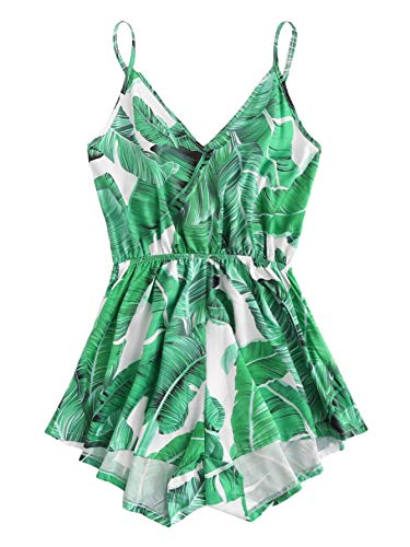 SheIn Women's Summer Sleeveless V Neck Leaf Print Knot Back Cami Romper Jumpsuit X-Large Print Green