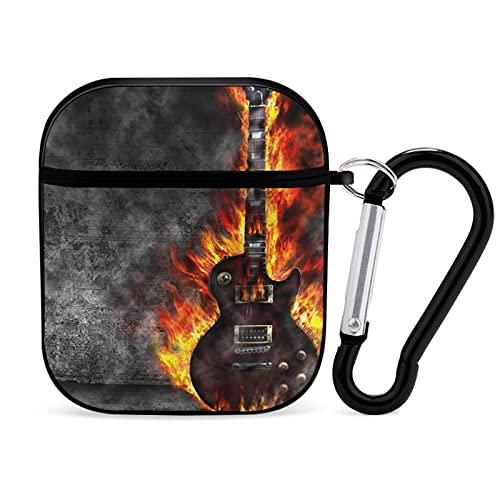 ERGF Burning Guitar in Old House La funda protectora para auriculares Bluetooth para AirPods tiene un estilo interesante y cambiante adecuado para Apple AirPods 1 y 2