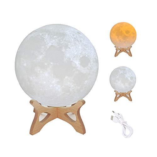 HANXIUCAO Lámpara de Noche Luna Lampara para Regalo, Carga USB y Control Táctil (2 colores, 8 cm)