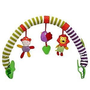 Egosy Cochecito de juguete, cuna, cuna, cuna, colgador de cuna, animales de dibujos animados, sonajero, juguete para niños pequeños