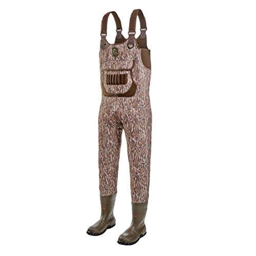 Gator Waders Mens Shadow Series Neoprene Hunting Waders with Boots, Mossy Oak Bottomland, Regular 8 - Warm Insulated and Waterproof Fabric with Shotgun Shell Holders