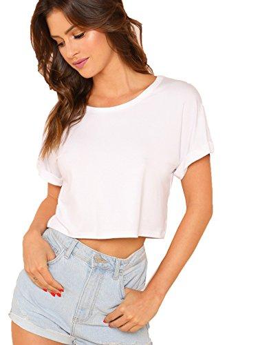 SweatyRocks Women's Casual Round Neck Short Sleeve Soild Basic Crop Top T-Shirt White Small