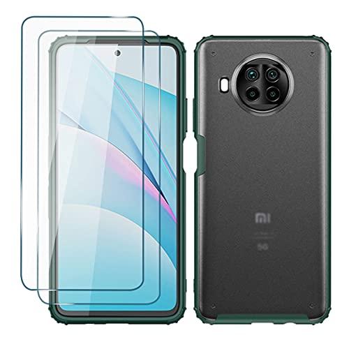 Funda Militar Grado Compatible con Xiaomi Mi 10T Lite Carcasa Anti Choque Proteccion Cover, Micro-Mate PC Duro Atrás Flexible Silicona TPU Suave Translúcido Case, Verde