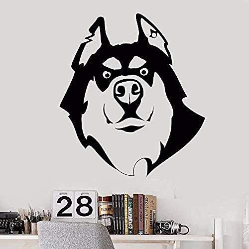 Wandaufkleber Tierhandlung Vinyl Wandtattoo Hund Husky Freund Tierhandlung Dekoration Abnehmbare Wandbild Niedlich Husky Wandplakat 57 * 64Cm