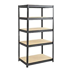 Safco Products Boltless Steel and Particleboard Shelving, 36 by 24-Inch, Black