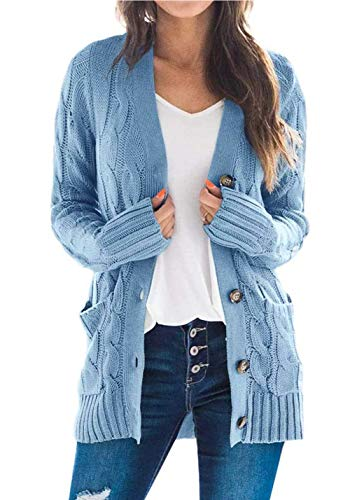 PRETTYGARDEN Women's Long Sleeve Open Front Knitted Cardigan Sweater Button Down Chunky Outwear Coat with Pockets Blue
