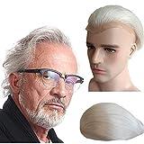 Gray White hair Toupee for men Hair pieces for men N.L.W. European virgin human hair replacement system for men, 10' x 8' human hair toupee men hair piece. PU Base