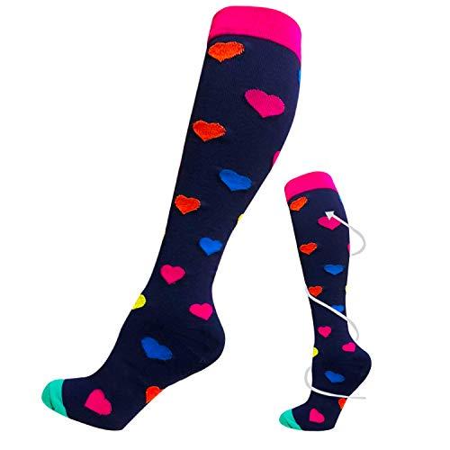 Calcetines de compresión para mujeres y hombres 20-25 mmHg es el mejor atlético, correr, vuelo, viajes, enfermeras, edema (C-color1-multicolor, S-M)