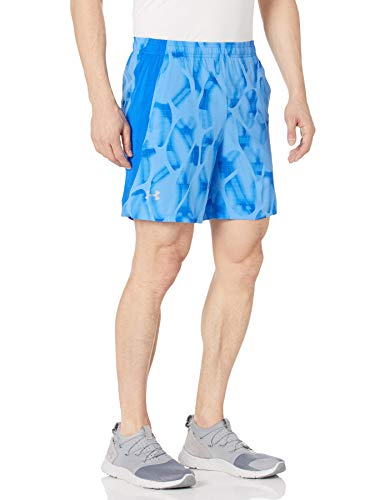 Under Armour Men's Launch Stretch Woven 7-inch Printed Shorts , Water (464)/Reflective , Large
