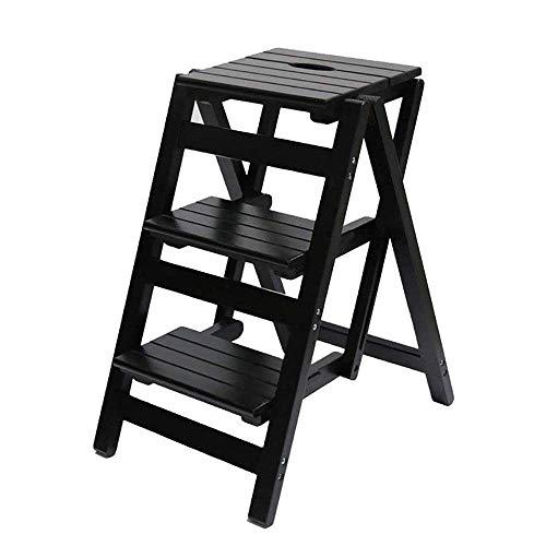 N/Z Living Equipment Holz Tritthocker Klappbare 3-Stufen-Leiter Stuhlbank Multifunktionale Stuhlbank Holz-Tritthocker Dual Use Indoor Ascend Dreistufige kleine Leiter