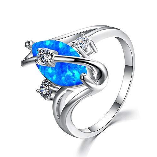 RVXZV Oval Blue 925 Silver Ring Anillo de ópalo con 10 mm Anillos de Compromiso de Piedras Preciosas para Mujeres Joyería Fina Tamaño 5-12