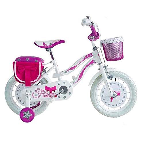 Mediawave Store - Bicicleta para niños con lazo BKT, talla 14, bicicleta para niña de 4 a 6 años, bicicleta con ruedas, para niña, idea regalo, con cesta y bolso y porta muñecas de color rosa/blanco.