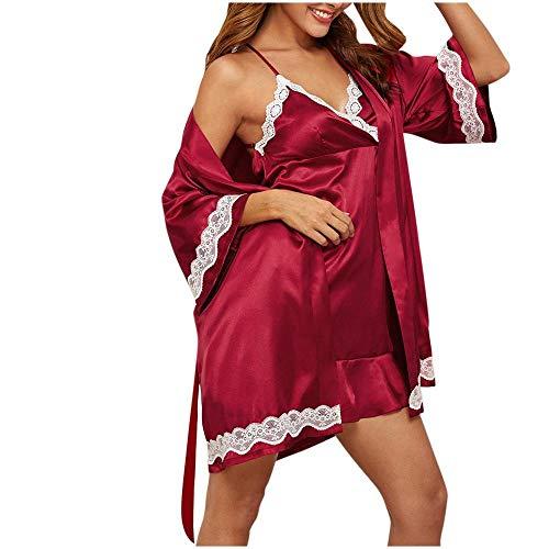 B/H Mujer Lencería Sexy Pijamas Camisones Encaje,Ropa de Dormir de satén Sexy para Mujer, camisón de satén de Encaje de Color sólido-Red_XL,Sexy Pijama Vestido Kimono Pijama