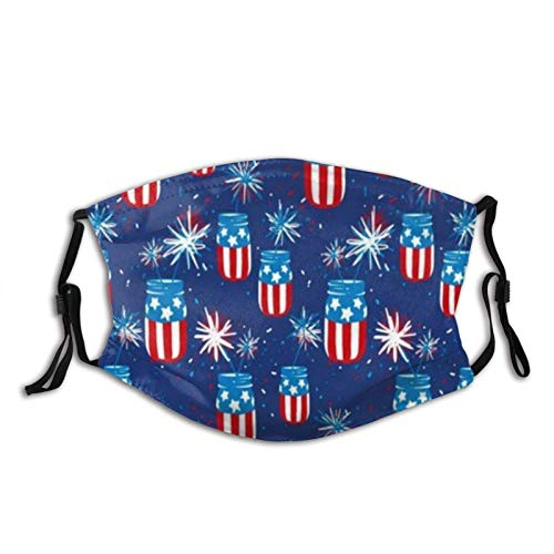 Patriotic American Flag Mason Jars Mask Balaclava Reusable Anti-Dust Mouth Bandanas