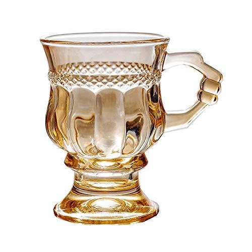 DZHTWSRYGR Vasos de Vidrio 150Ml Estilo Retro Chica Taza de té con Leche marrón Vidrio ámbar Copa de Vino