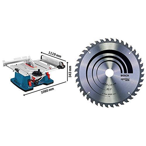 Bosch Profesional Sierra Circular de mesa GTS 10 XC con freno de motor + Bosch - Hoja de sierra circular Optiline Wood - 254 x 30 x 2,8 mm, 40 (pack de 1)