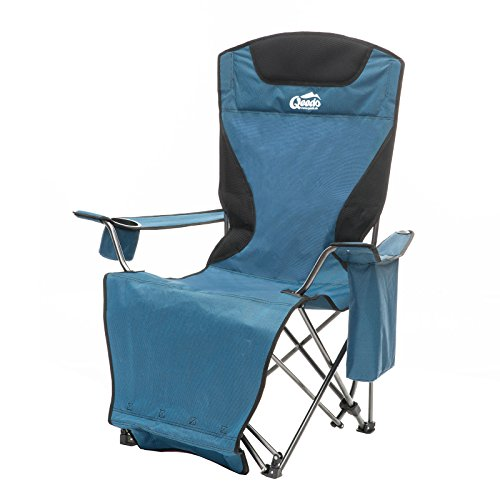 Qeedo Johnny Relax Reclining Camping Chair with Cup Holder & Cooling Bag - blue
