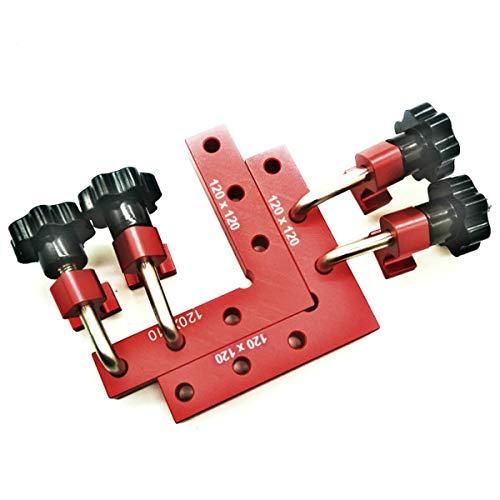 CarAngels アルミ製 完全スコヤ セット コーナークランプキット L形 90度 直角定規 木工 固定 締め付け ツール (120×120)