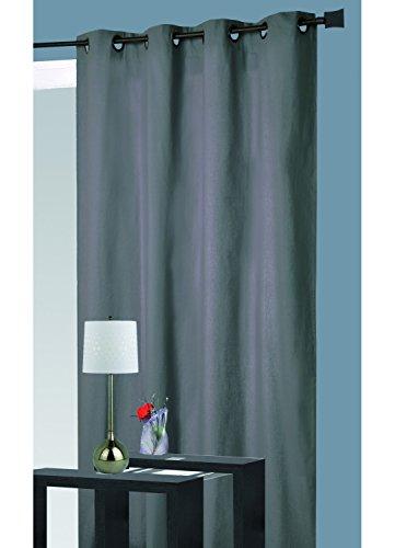 HomeMaison Rideau Isolant Thermique, 100% Polyester, Gris, 260x140 cm