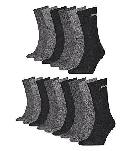 Puma 15 Paar Sportsocken Tennis Socken Gr. 35-49 Unisex für sie und ihn, Socken & Strümpfe:47-49, Farbe:207 anthracite/grey