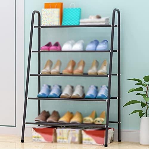 LYYJF Estante Zapatero, 5 estantes para 13 Pares de Zapatos, para Entrada, Sala de Estar, Dormitorio, Gris Oscuro,Dark Gray