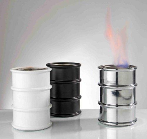 sompex Öllampe Barrel Feuertonne für Brenngel in weiß 3318 kleines Lagerfeuer zum mitnehmen Barrel Tischfeuer Garten Balkon Feuer Tisch Kamin